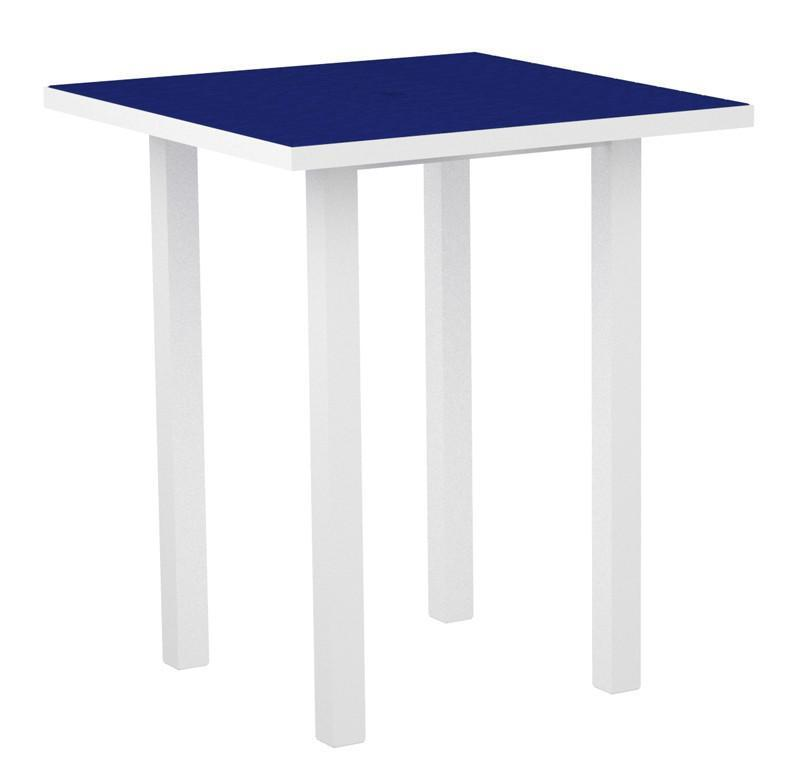 Square Bar Table Textured White Aluminum Frame Pacific Blue 17022 Product Photo