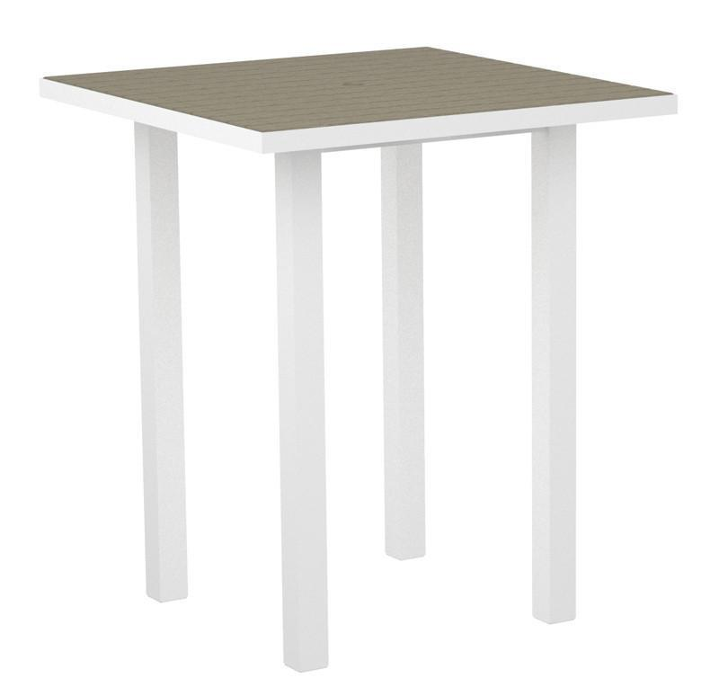 Square Bar Table Textured White Aluminum Frame Sand 17022 Product Photo