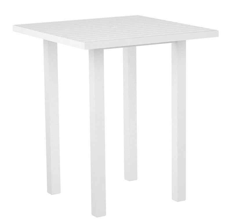 Polywood Square Bar Table Textured White Aluminum Frame White Euro