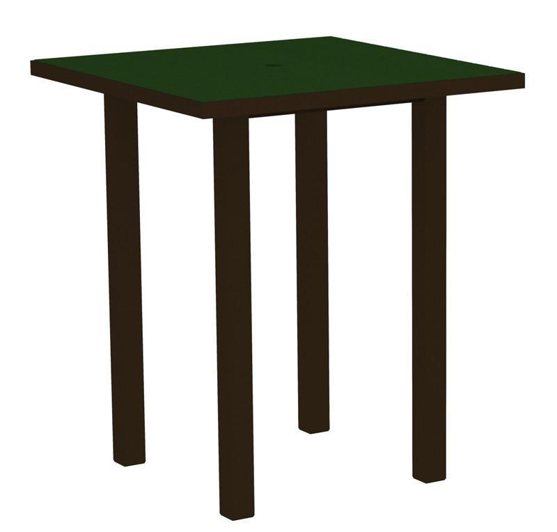 Square Bar Table Textured Bronze Aluminum Frame Green 16992 Product Photo