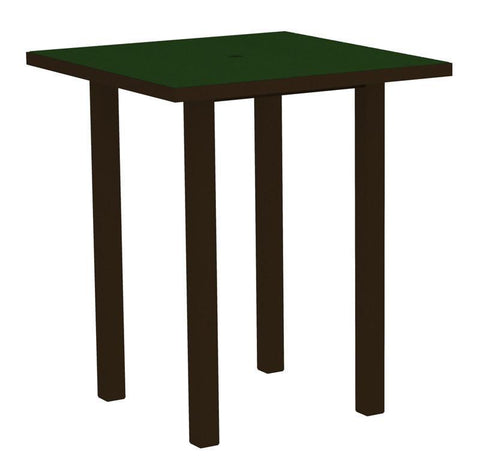 "Polywood ATB36-16GR Euro 36"" Square Bar Table in Textured Bronze Aluminum Frame / Green - PolyFurnitureStore"