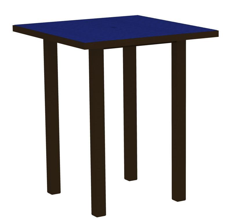 Square Bar Table Textured Bronze Aluminum Frame Pacific Blue 16996 Product Photo