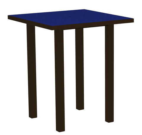 "Polywood ATB36-16PB Euro 36"" Square Bar Table in Textured Bronze Aluminum Frame / Pacific Blue - PolyFurnitureStore"