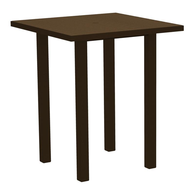 Square Bar Table Textured Bronze Aluminum Frame Teak 16999 Product Photo