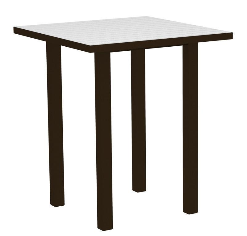 Square Bar Table Textured Bronze Aluminum Frame White 16999 Product Photo