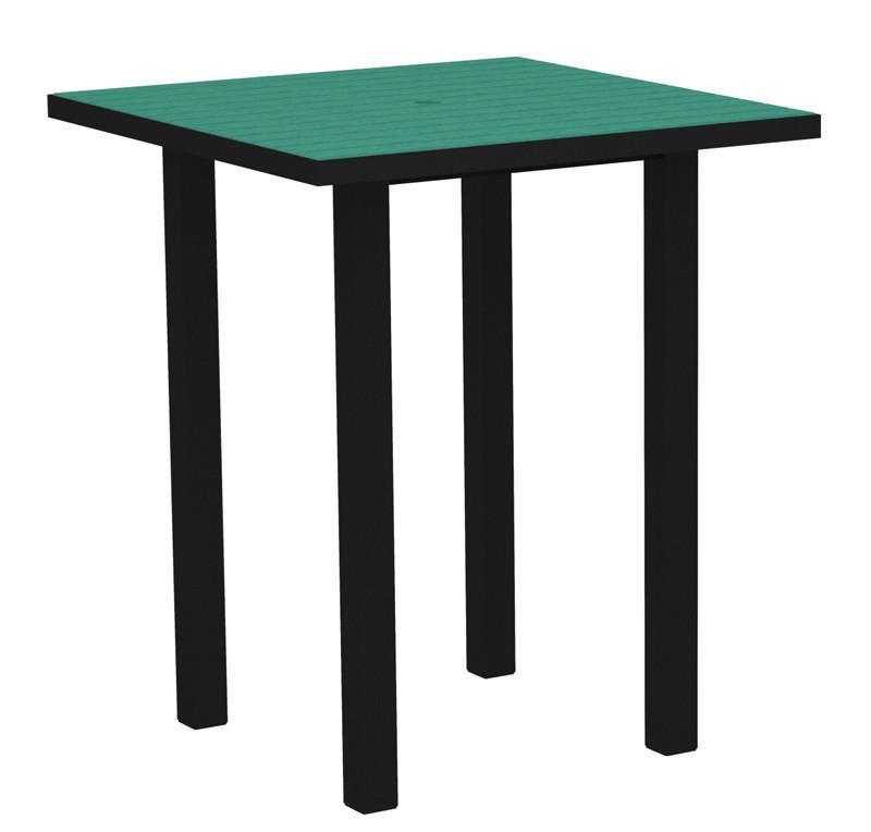 Square Bar Table Textured Black Aluminum Frame Aruba 16974 Product Photo