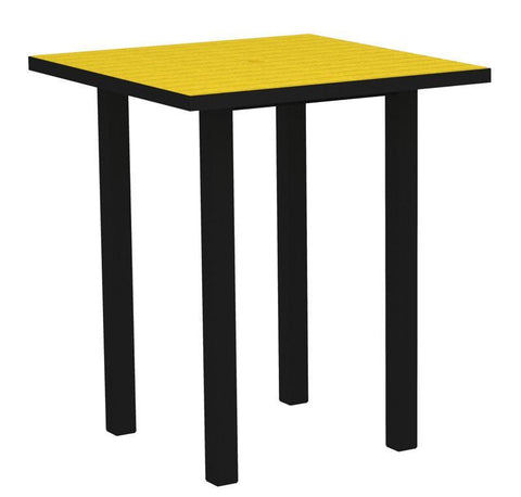 "Polywood ATB36FABLE Euro 36"" Square Bar Table in Textured Black Aluminum Frame / Lemon - PolyFurnitureStore"