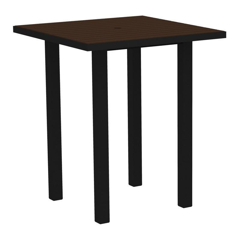 Square Bar Table Textured Black Aluminum Frame Mahogany 16981 Product Photo