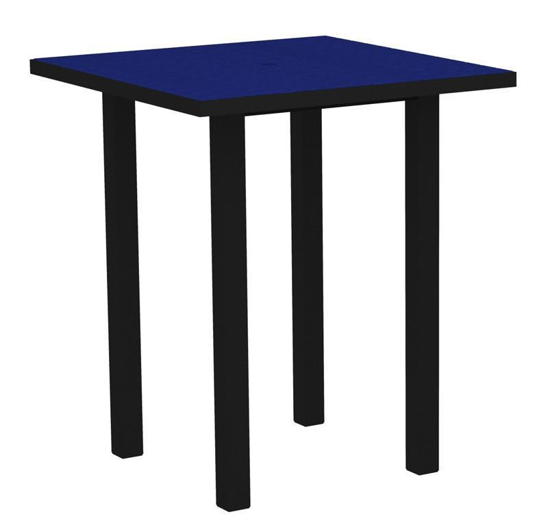 Square Bar Table Textured Black Aluminum Frame Pacific Blue 16981 Product Photo