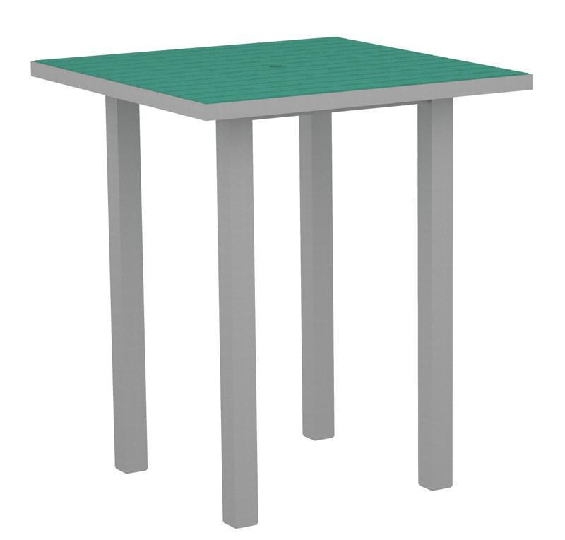 Square Bar Table Textured Silver Aluminum Frame Black 17002 Product Photo