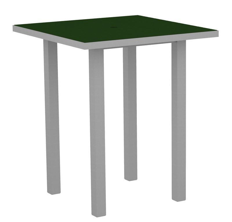 Square Bar Table Textured Silver Aluminum Frame Green 17002 Product Photo