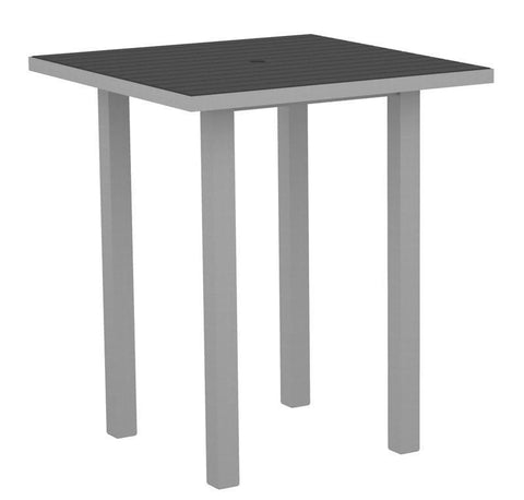 "Polywood ATB36FASGY Euro 36"" Square Bar Table in Textured Silver Aluminum Frame / Slate Grey - PolyFurnitureStore"