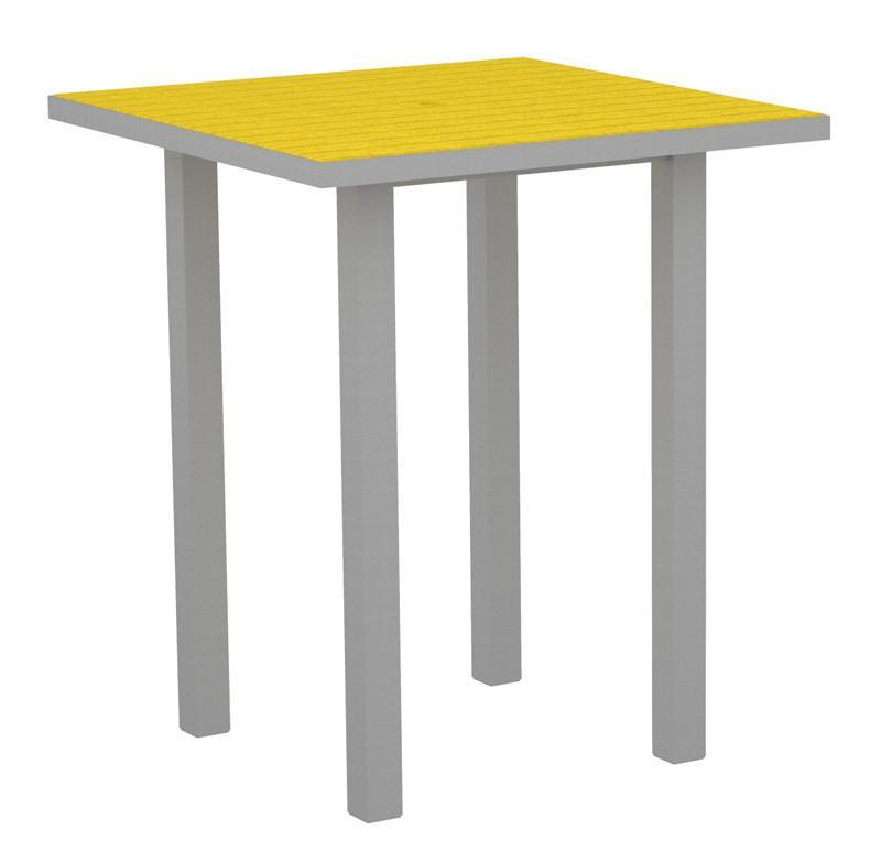 Square Bar Table Textured Silver Aluminum Frame Lemon 17006 Product Photo