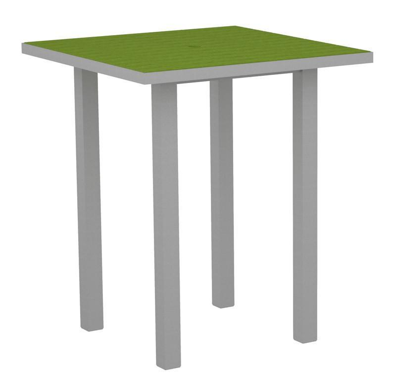 Square Bar Table Textured Silver Aluminum Frame Lime 17006 Product Photo