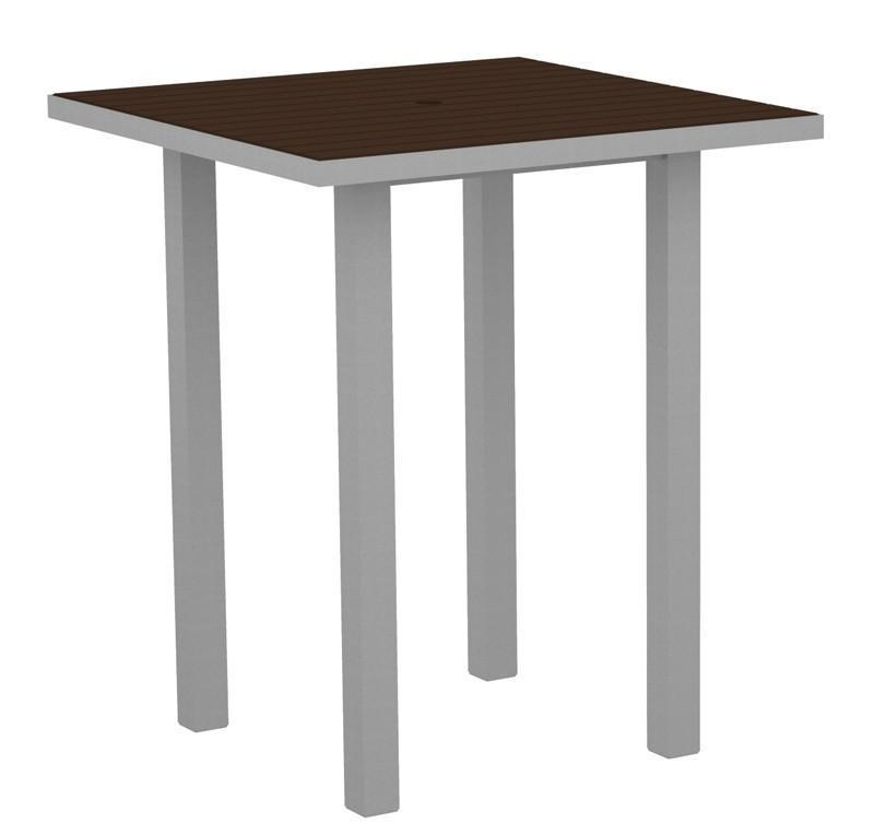 Square Bar Table Textured Silver Aluminum Frame Mahogany 17006 Product Photo