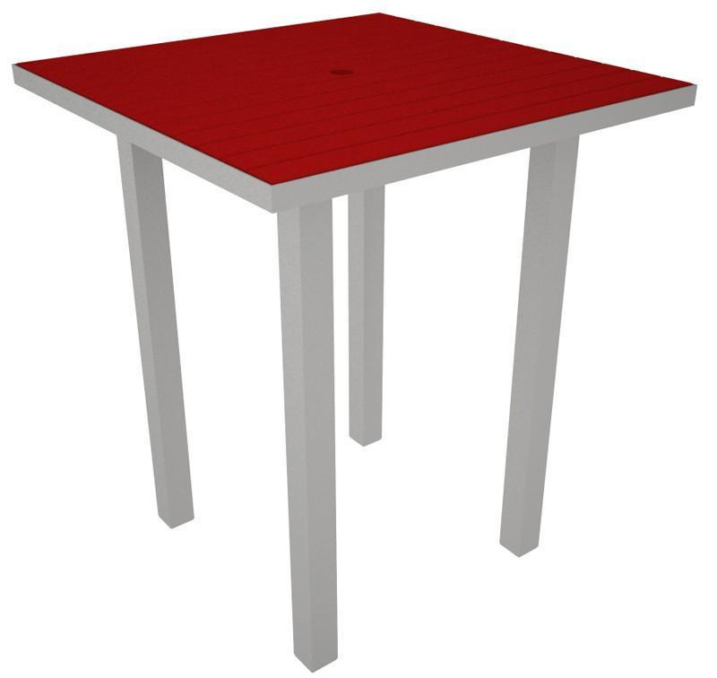 Square Bar Table Textured Silver Aluminum Frame Sunset Red 17009 Product Photo