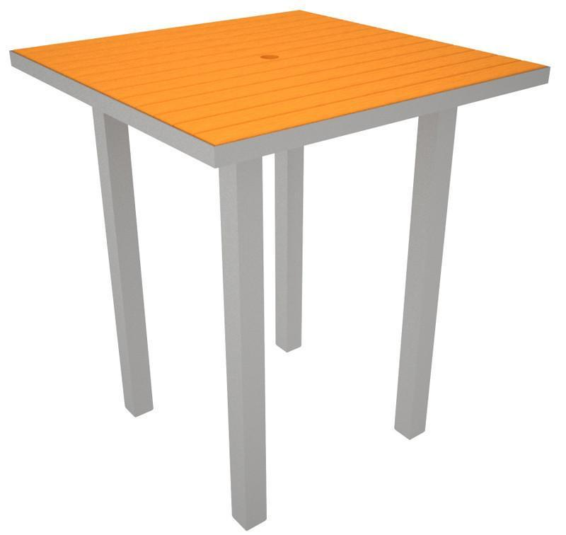 Square Bar Table Textured Silver Aluminum Frame Tangerine 17012 Product Photo