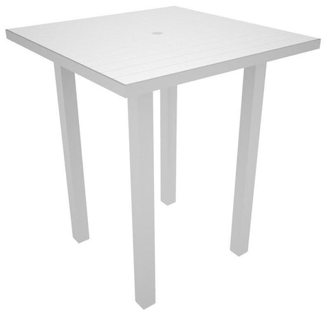 "Polywood ATB36FASWH Euro 36"" Square Bar Table in Textured Silver Aluminum Frame / White - PolyFurnitureStore"