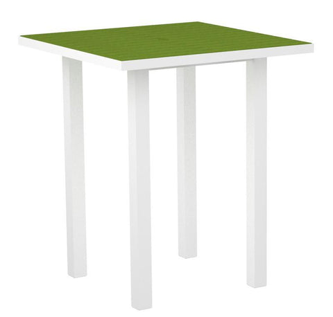 "Polywood ATB36FAWLI Euro 36"" Square Bar Table in Gloss White Aluminum Frame / Lime - PolyFurnitureStore"
