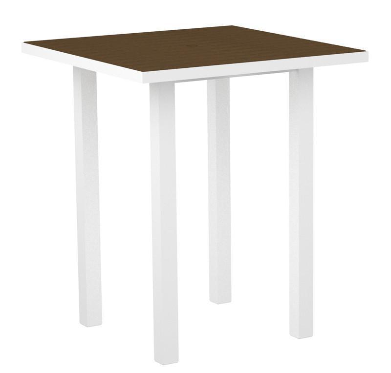 Square Bar Table Gloss White Aluminum Frame Teak 16974 Product Photo