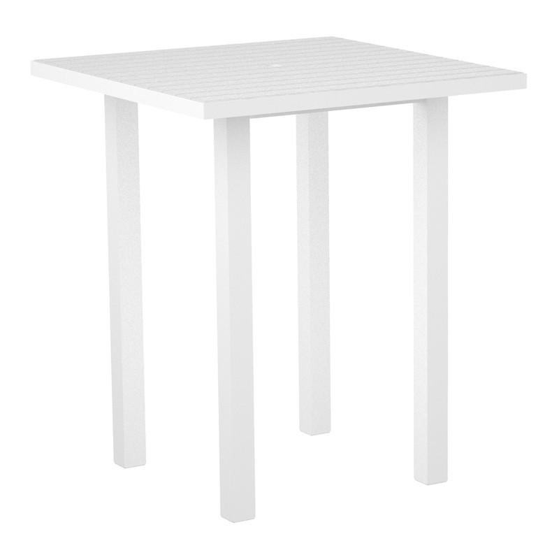 Square Bar Table Gloss White Aluminum Frame White 16974 Product Photo