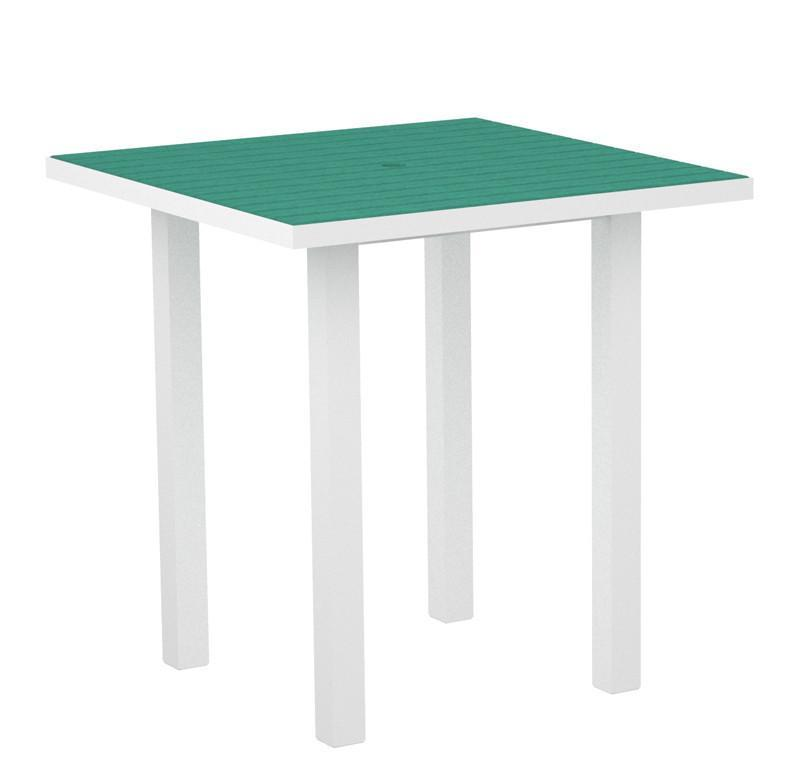 Square Counter Table Textured White Aluminum Frame Black Euro 2602 Product Photo