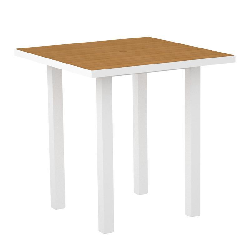 Square Counter Table Textured White Aluminum Frame Plastique 16729 Product Photo