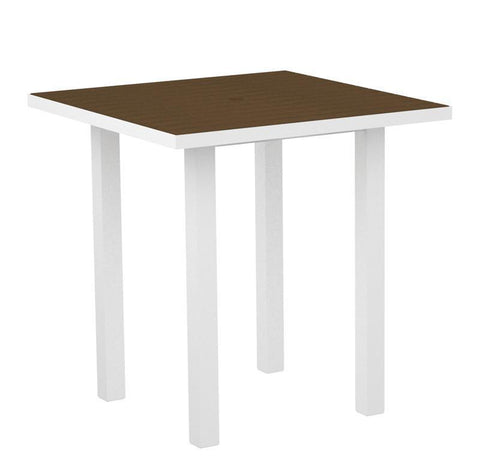 "Polywood ATR36-13TE Euro 36"" Square Counter Table in Textured White Aluminum Frame / Teak - PolyFurnitureStore"