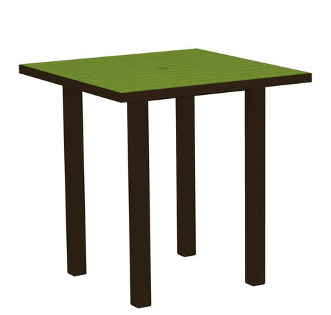 "Polywood ATR36-16LI Euro 36"" Square Counter Table in Textured Bronze Aluminum Frame / Lime - PolyFurnitureStore"