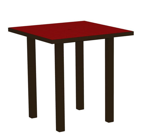 "Polywood ATR36-16SR Euro 36"" Square Counter Table in Textured Bronze Aluminum Frame / Sunset Red - PolyFurnitureStore"