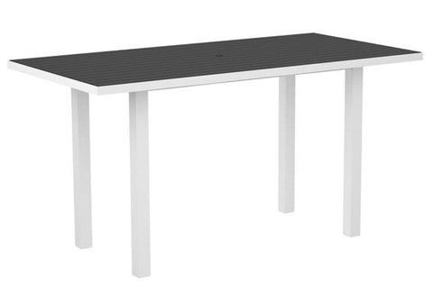"Polywood ATR3672-13GY Euro 36"" x 72"" Counter Table in Textured White Aluminum Frame / Slate Grey - PolyFurnitureStore"