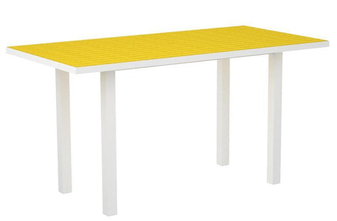 "Polywood ATR3672-13LE Euro 36"" x 72"" Counter Table in Textured White Aluminum Frame / Lemon - PolyFurnitureStore"