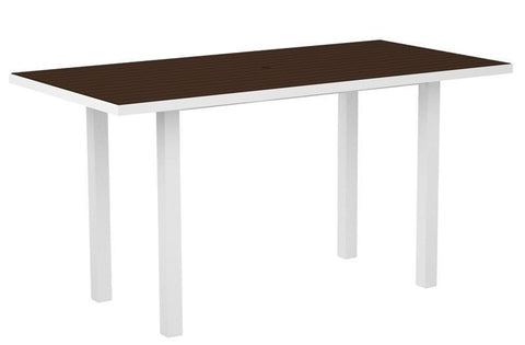 "Polywood ATR3672-13MA Euro 36"" x 72"" Counter Table in Textured White Aluminum Frame / Mahogany - PolyFurnitureStore"