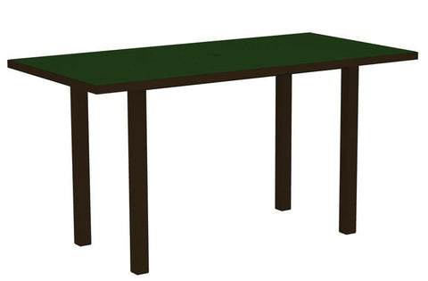 "Polywood ATR3672-16GR Euro 36"" x 72"" Counter Table in Textured Bronze Aluminum Frame / Green - PolyFurnitureStore"