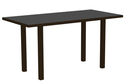 "Polywood ATR3672-16GY Euro 36"" x 72"" Counter Table in Textured Bronze Aluminum Frame / Slate Grey - PolyFurnitureStore"