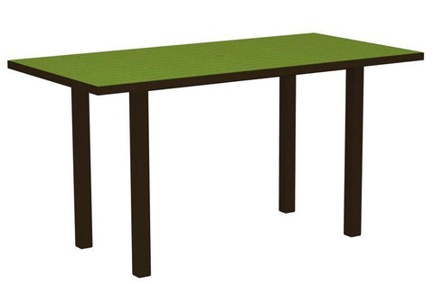 "Polywood ATR3672-16LI Euro 36"" x 72"" Counter Table in Textured Bronze Aluminum Frame / Lime - PolyFurnitureStore"