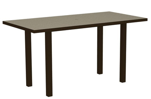 "Polywood ATR3672-16SA Euro 36"" x 72"" Counter Table in Textured Bronze Aluminum Frame / Sand - PolyFurnitureStore"