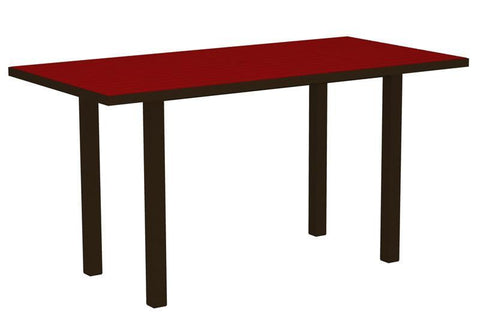 "Polywood ATR3672-16SR Euro 36"" x 72"" Counter Table in Textured Bronze Aluminum Frame / Sunset Red - PolyFurnitureStore"