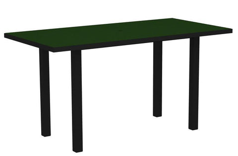 "Polywood ATR3672FABGR Euro 36"" x 72"" Counter Table in Textured Black Aluminum Frame / Green - PolyFurnitureStore"