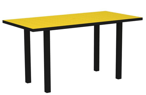 "Polywood ATR3672FABLE Euro 36"" x 72"" Counter Table in Textured Black Aluminum Frame / Lemon - PolyFurnitureStore"