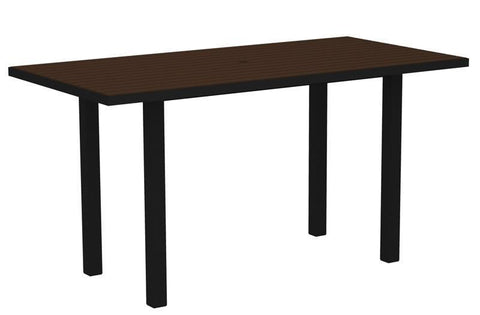 "Polywood ATR3672FABMA Euro 36"" x 72"" Counter Table in Textured Black Aluminum Frame / Mahogany - PolyFurnitureStore"