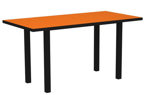 "Polywood ATR3672FABTA Euro 36"" x 72"" Counter Table in Textured Black Aluminum Frame / Tangerine - PolyFurnitureStore"