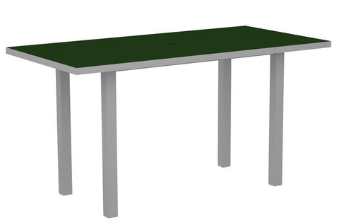 "Polywood ATR3672FASGR Euro 36"" x 72"" Counter Table in Textured Silver Aluminum Frame / Green - PolyFurnitureStore"
