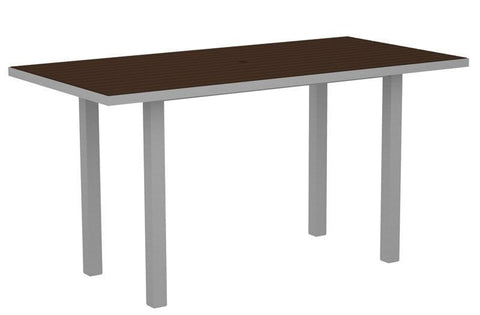 "Polywood ATR3672FASMA Euro 36"" x 72"" Counter Table in Textured Silver Aluminum Frame / Mahogany - PolyFurnitureStore"
