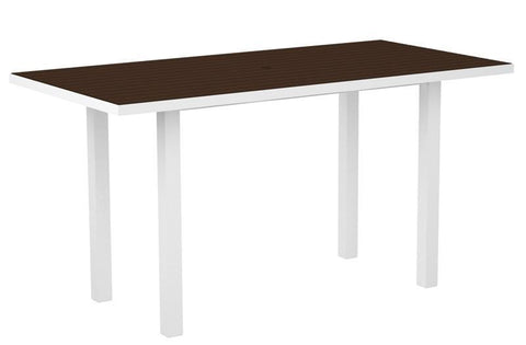 "Polywood ATR3672FAWMA Euro 36"" x 72"" Counter Table in Gloss White Aluminum Frame / Mahogany - PolyFurnitureStore"