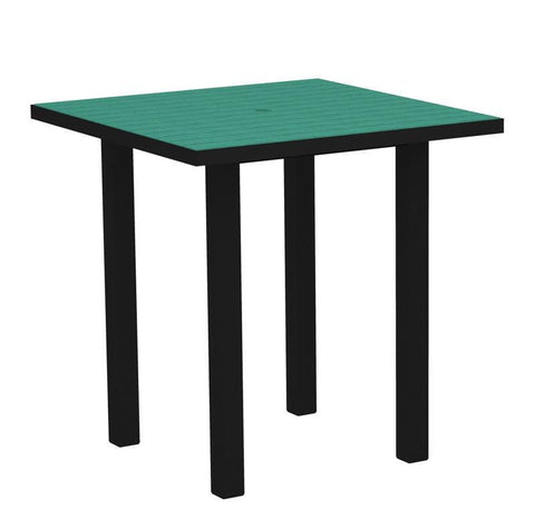 "Polywood ATR36FABAR Euro 36"" Square Counter Table in Textured Black Aluminum Frame / Aruba - PolyFurnitureStore"
