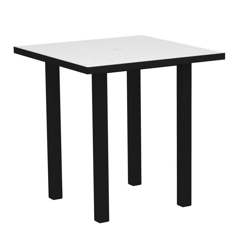 Square Counter Table Textured Black Aluminum Frame White Euro 2576 Product Photo