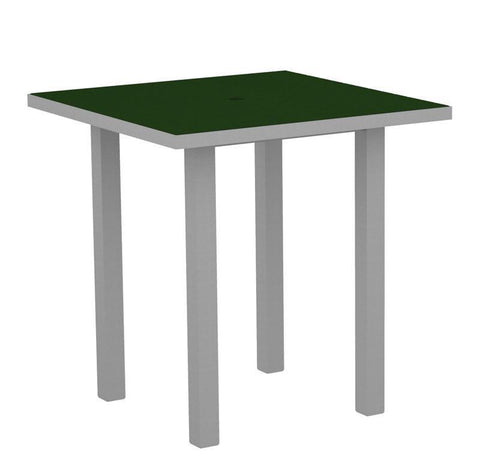 "Polywood ATR36FASGR Euro 36"" Square Counter Table in Textured Silver Aluminum Frame / Green - PolyFurnitureStore"