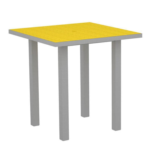 "Polywood ATR36FASLE Euro 36"" Square Counter Table in Textured Silver Aluminum Frame / Lemon - PolyFurnitureStore"