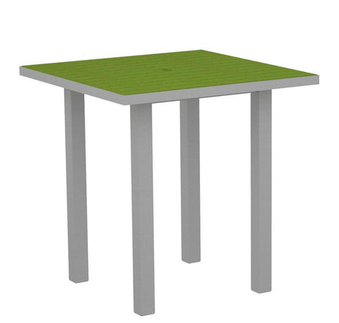 "Polywood ATR36FASLI Euro 36"" Square Counter Table in Textured Silver Aluminum Frame / Lime - PolyFurnitureStore"